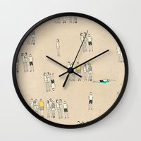 it crowd Wall Clocks featuring Crowd by Lera Sxemka
