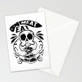 A Unique Detailed Skull Tee For Yourself? Here's An Awesome T-shirt Saying Meat Eat Knife Meaty Stationery Cards