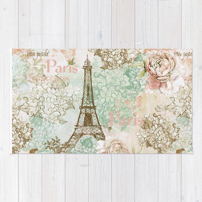 I Love Paris Vintage Shabby Chic Eiffeltower France Flowers Fl Rug