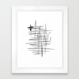 Black and whte brush strokes. Framed Art Print