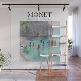 Monet - Etretat the Aval door fishing boats Wall Mural