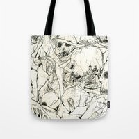 bones Tote Bags featuring Bones by Jess Worby