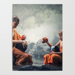Young Monks Washing Bowls Poster