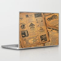 newspaper Laptop & iPad Skins featuring old newspaper by Marianna Burk