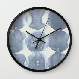 Shibori Wabi Sabi Indigo Blue on Lunar Gray Wall Clock