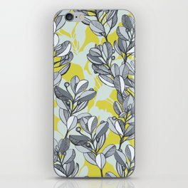 Leaf and Berry Sketch Pattern in Mustard and Ash iPhone Skin