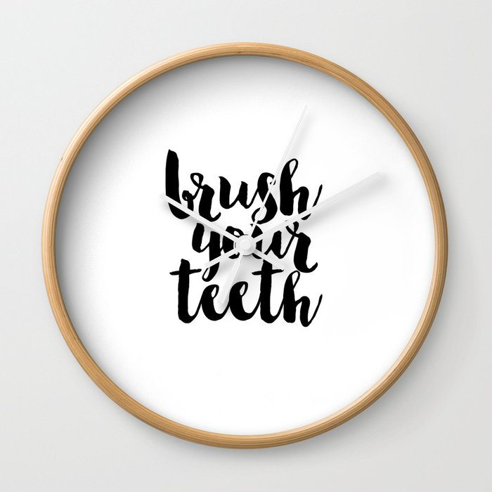 Bathroom Decor Washroom Print Monochrome Decor Brush Your Teeth