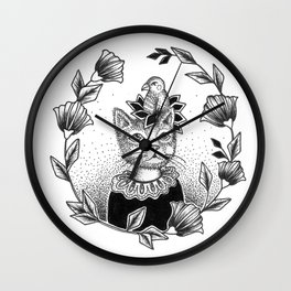 Cat Set 01 Ink Drawings - Cat and Bird Wall Clock