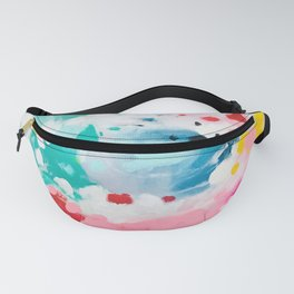 Colorful Fantasy Neon Rainbow Abstract Art Acrylic Painting Fluffy Pastel Clouds by Ejaaz Haniff Fanny Pack
