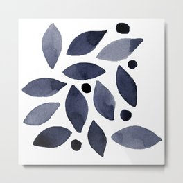 Leaves and berries watercolour monochrome Metal Print