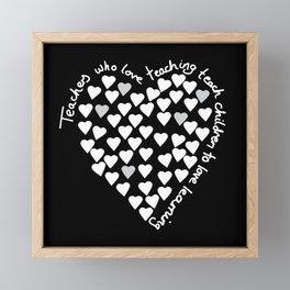 Hearts Heart Teacher White on Black Framed Mini Art Print