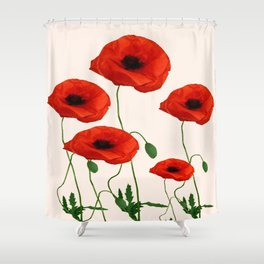 GRAPHIC RED POPPY FLOWERS ON WHITE Shower Curtain