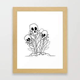 Skulls flowers Framed Art Print