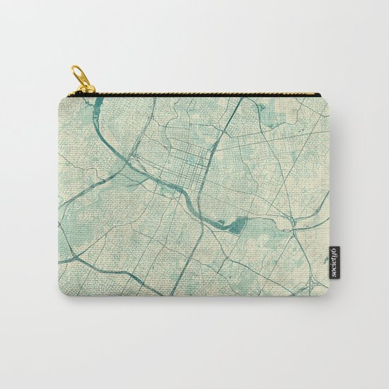 Austin Map Blue Vintage Carry-All Pouch