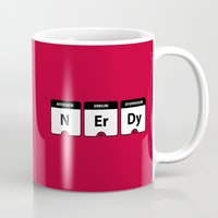 periodic table Mugs featuring Nerdy Periodic Table by EnvyArt