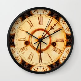 Multiple traditional antique clock faces with Roman numerals shown in conceptual  abstract shapes Wall Clock