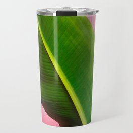 Banana Palm Leaves Pink Background Travel Mug