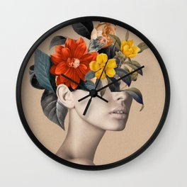 woman with flowers 8 Wall Clock