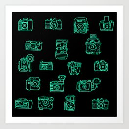 Cameras: Teal - pop art illustration Art Print