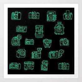 Cameras: Teal - pop art illustration Art Print
