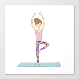 Yoga Girl in Tree Pose illustration Canvas Print