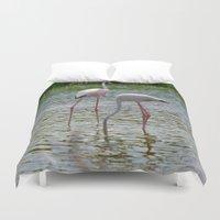 flamingos Duvet Covers featuring Flamingos by CrismanArt