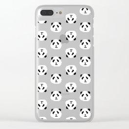 Blue Pixel Panda Pattern Clear iPhone Case