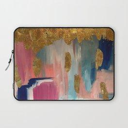 Gold Leaf & Indigo Blue Abstract Laptop Sleeve