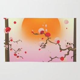 China Blossom tree sunset Rug
