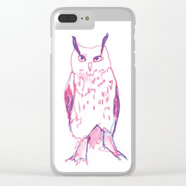 unimpressed horned owl study Clear iPhone Case