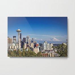 Seattle Overlook with Mt Rainier Metal Print