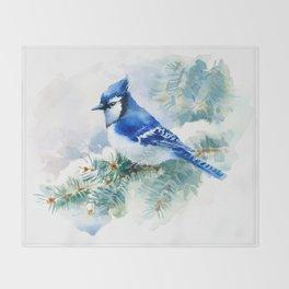 Watercolor Blue Jay Throw Blanket