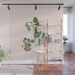 plant party in pink Wall Mural