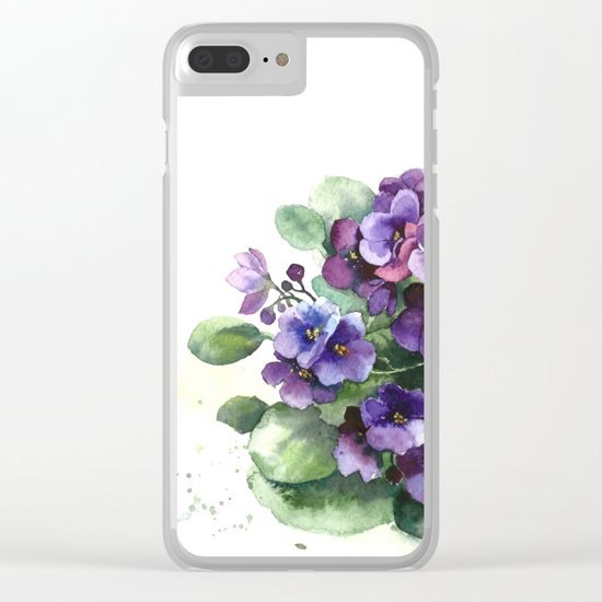 Senpolia viola violet flowers watercolor Clear iPhone Case