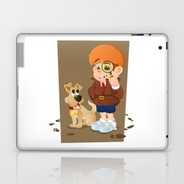 Smart young cartoon detective boy and his dog Laptop & iPad Skin