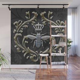 Elegant Black & Gold Damask Bee Wall Mural
