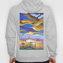 Pretty in Pink, Pink floral landscape, Abstract Landscape Hoody
