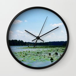 Lilly pads and sailboat in creek | Eastern Shore, MD | Minimalist landscape photography Wall Clock