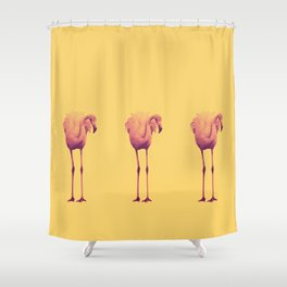 Flamingo Trio (yellow) Shower Curtain