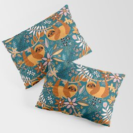 Happy Boho Sloth Floral Pillow Sham