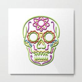 Sugar Skull Neon Sign Metal Print