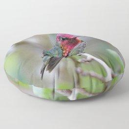 Anna's Hummingbird on the Plum Tree Floor Pillow