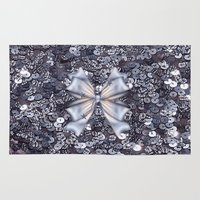 silver Area & Throw Rugs featuring Silver by Elena Indolfi