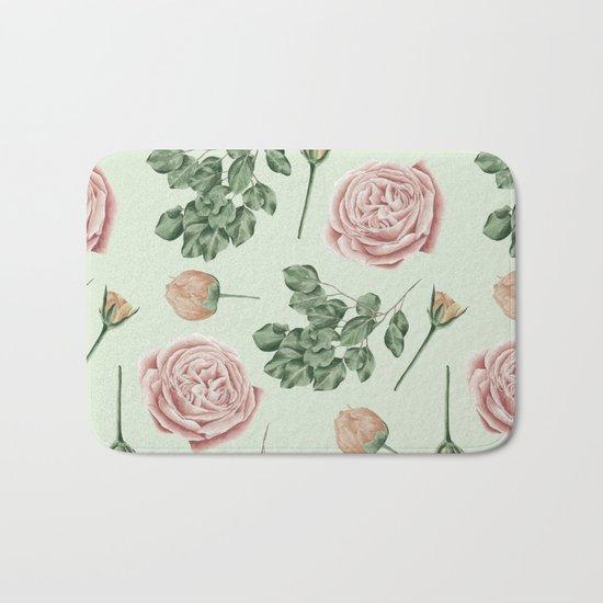 Rose Garden Delight Mint Green + Pink Bath Mat