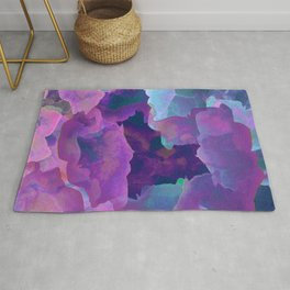 Purple, teal and blue abstract watercolor clouds Rug