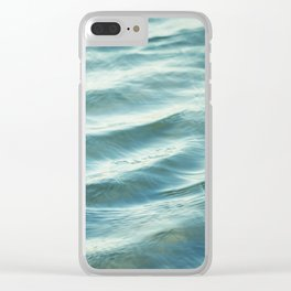 Water Abstract Photography, Ocean Ripples, Blue Teal Sea Clear iPhone Case