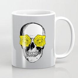 Skull and Roses   Grey and Yellow Coffee Mug