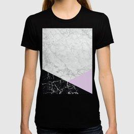 White Marble - Black Granite & Light Purple #388 T-shirt