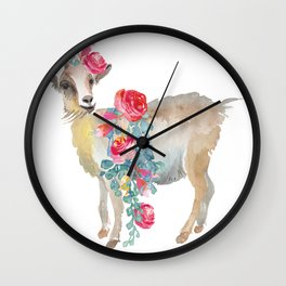 goat with flower crown Wall Clock
