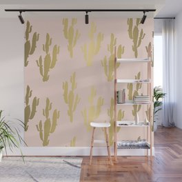 Gold rose cactus pattern Wall Mural